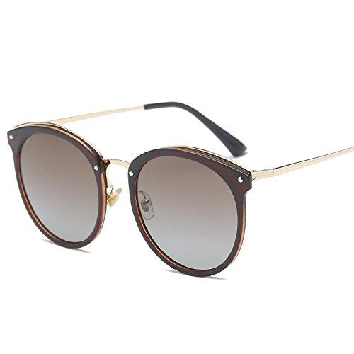 xinhao Sonnenbrille Style Sonnenbrille, Sonnenbrillen, Sonnenbrillen und rundes Gesicht Fahren Gläser, Kaffee Frame Doppel Kaffee