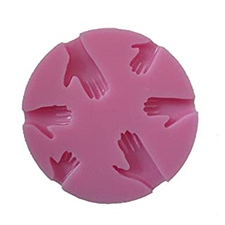 Allforhome 6 Cavity Human Hand Shaped 3d Silicone Cake Fondant Mold, Cake Decoration Tools, Soap, Candle Moulds