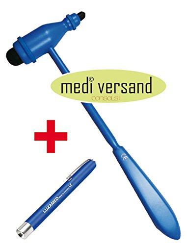 Troemner Hammers Reflex (Reflexhammer nach Trömner BLUE Edition + GRATIS Diagnostikleuchte blau)