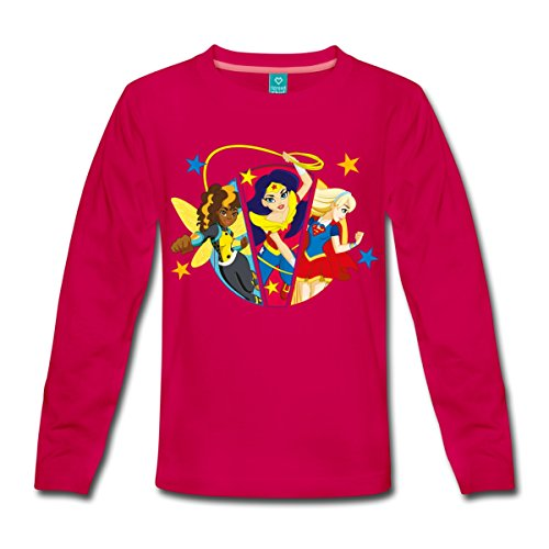 Spreadshirt DC Super Hero Girls Bumblebee Wonder Woman Supergirl Kinder Premium Langarmshirt, 134/140 (8 Jahre), Dunkles ()