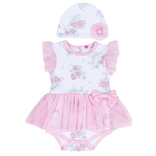 Puseky Neugeborene Baby Mädchen Blumen Prinzessin Mesh Tutu Spielanzug Kleid und Hut Kleidung Outfit Set (12-18 Monate, Rosa+Weiß) (Weiße 16 Blumen-mädchen-kleider Größe)