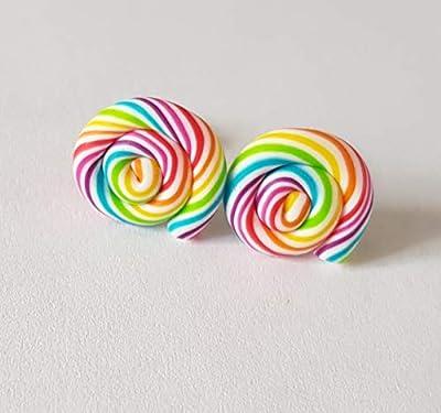puces lolipop multicolore blanc coloré fimo bonbon cadeau boucles d oreille enfant