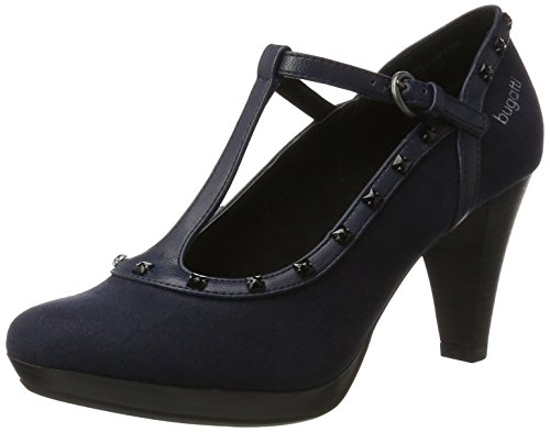 Bugatti Damen 412281736400 T-Spangen Pumps, Blau (Dark Blue), 40 EU