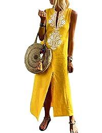 7f69d46531f269 Vestito Estivo da Donna Abito Sciolto Senza Maniche Retro Lino Cotone Abiti  Lunghi Donna Eleganti Camicetta