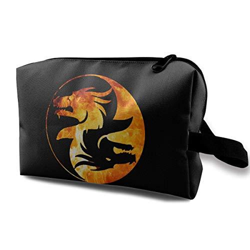 Yin Yang Symbol T-shirt Dragon Theme Chinese Asiatic Toiletry Bag Womens Travel Cosmetic Bags Lightweight Waterproof Case -