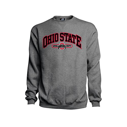 J. America NCAA Ohio State Buckeyes Herren Premium Besticktes Crew Sweatshirt, Grau meliert, Herren, grau, X-Large (Ohio Hoody State)