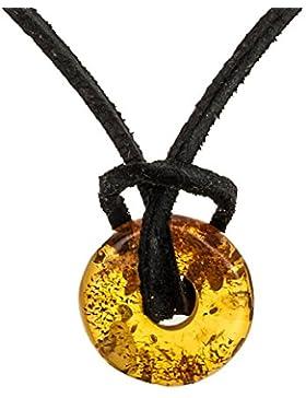 Anhänger Donut Natur Bernstein Bernsteindonuts Bernsteinschmuck GRATIS Kautschuk Halsband #ab90