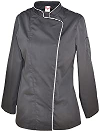 Veste de cuisine noire PREFELLE à manches longues pour femme