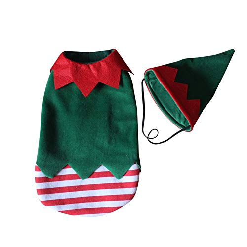 365 Party Kostüm - Bobopai Pet Christmas Costume Dog Cat Suit with Cap Lovely Pet Dress Party Cosplay Clothes Green (S-XL)