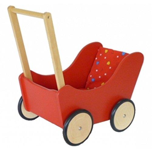 Puppenwagen aus Holz   schickes rotes Design   Lauflernwagen mit gummierten, geräuscharmen Räder   stabile und robuste Ausführung aus Massivholz   Griff ist höhenverstellbar   mit...