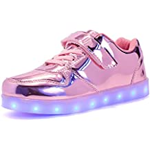 Bangbei LED con Luces Zapatillas de Deporte Luz Brillante USB 7 Colores Zapatos para niños Parpadeante