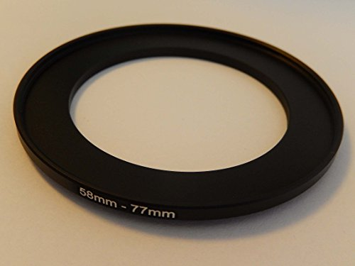 vhbw Step UP Filter-Adapter 58mm-77mm schwarz für Kamera Panasonic, Pentax, Ricoh, Samsung, Sigma, Sony, Tamron -