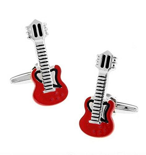 Hosaire Manschettenknöpfe Hemd Cufflinks Mode Rote Musik Gitarre Form Manschettenknopf Exquisite Zubehör(1Paar)
