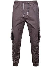 00fd6b4787 Algodón Slim Fit Jeans Cargo Trouser Pantalones de Trabajo Hombre Deporte  Pantalones Entrenamiento Fitness Pantalones Sueltos