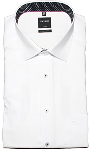 OLYMP Luxor Modern Fit Hemd Halbarm Under Button Down Kragen Weiß Weiß