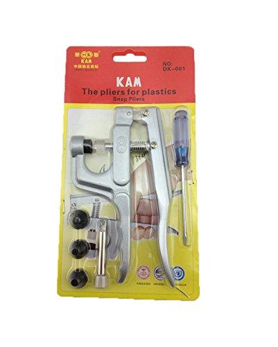KAM - Pinza a scatto per bottoni a pressione in plastica e resina, con 4matrici di misure diverse (T3, T5, T8A e T8B), per realizzare abiti, pannolini, bavaglini e molto altro