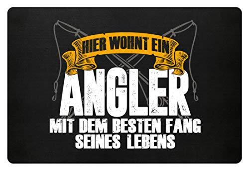angeln, Angler, fischen, Fischer, Angelrute, Angelhaken, Bester Fang, Fische fangen - Fußmatte -60x40cm-Schwarz