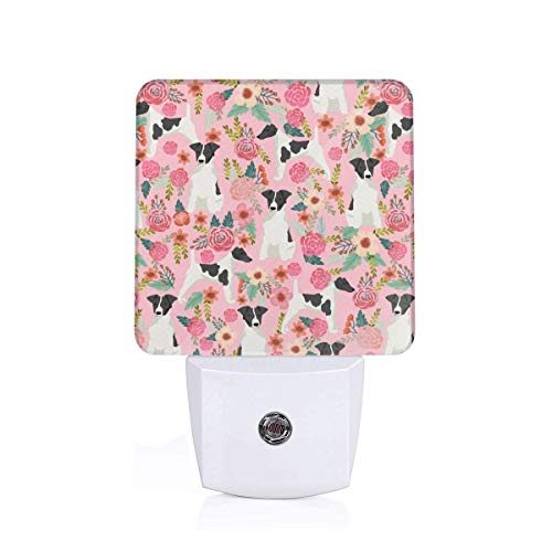 th Fox Terrier Black And White Coat Floral Pink Auto Senor Dusk to Dawn Night Light Plug in for Baby, Kids, Children's Adults Room ()