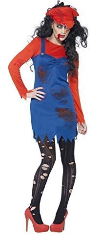 Fancy Me damen-zombie Mario Klempner 1980s Jahre 80s Jahre Halloween Videospiel Kostüm Kleid Outfit - Rot, 12-14