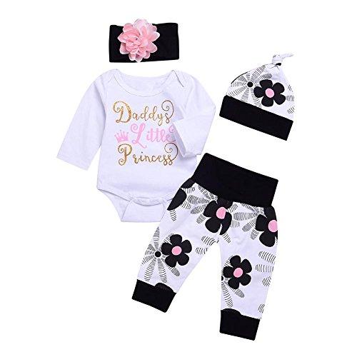 Blaward Neugeborenes Baby Mädchen 4 Stücke Daddy Kleine Prinzessin Strampler Kleidung Blume Hosen Set mit Stirnband und Hut