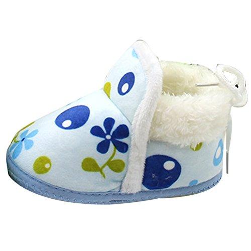 Zhhlinyuan Unisex Baby Girls Boys Soft Sole Anti-Slip Toddler Warm Cotton Shoes XM-2 Blue