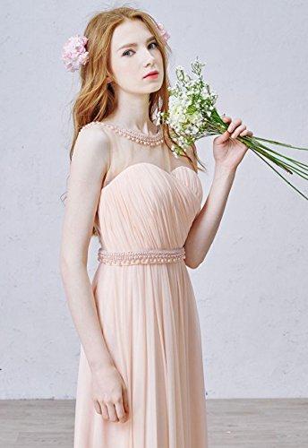 Beauty-Emily Rückenfrei See-Through Sweet Heart O-Ansatz Ohne Arm Abendkleid Rosa