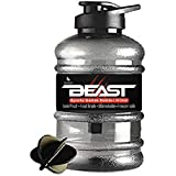 DOVEAZ Beast Sports Water Bottle / Protein Shaker Bottle / Gallon water Bottle (1.5 LTR) with Mixer Ball and Strainer (BPA-Free, Unbreakable, Freezer Safe) (Black)