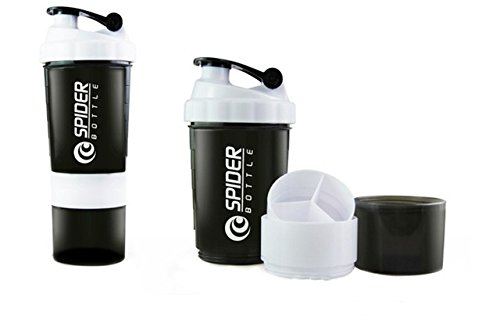 CP BIGBASKET 500 Ml Protein Shaker Gym Bottle With 2 Storage Compartments And 1 Pill Tray (White)