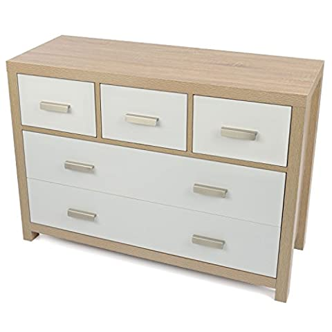 Bianco 5 Draw Oak Effect Chest of Drawers Modern White Wood Design