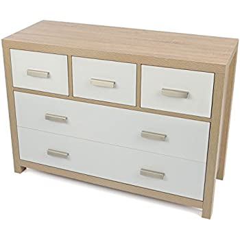 bianco 5 draw oak effect chest of drawers modern white wood design - How To Fix A Drawer