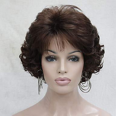 FUHOAHDD Neue gewelltes gelocktes kastanienbraun 31# kurzen synthetischen Haar voller Frauen Dicke Perücken für den Alltag, Auburn (Auburn Haar Perücke)