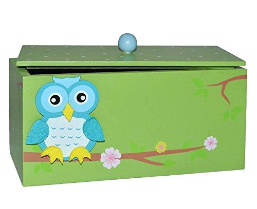Holzbox mit Deckel - Holz grün - Eulen zum Hinstellen - Utensilo - Deko für Kinder + Erwachsene - Kinderzimmer Eule Kind Tisch z.B. für Schmuck Schmuckbox Box Mädchen