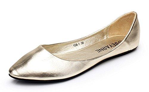 Senhoras Fechado Apontou Aisun Planas Bailarinas Asakuchi Típico Ouro rHfgqr