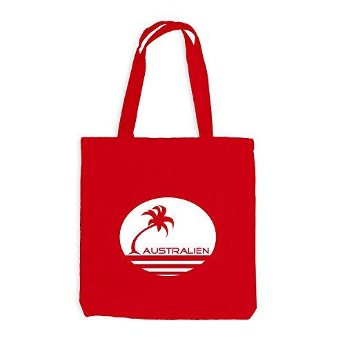 Jutebeutel - AUSTRALIEN Palmen - Strand Beach Travel Rot