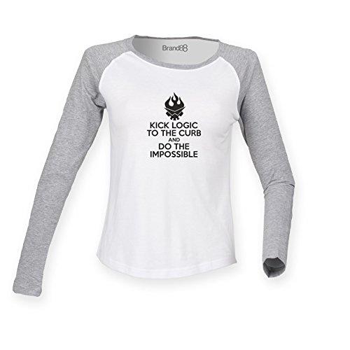 Brand88 - Kick Logic To The Curb, Do The Impossible, Damen Langarm Baseball T-Shirt Weiss & Grau