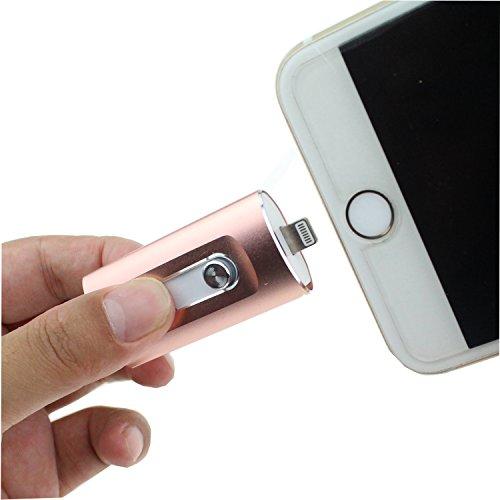 Escomdp 16GB USB 3.0 Flash Drives für iPhone 5 6 7 Plus USB Stick Speicher, iPad / iPod Jump Drive Lightning Memory-Sticks Externer Speicher, Speichererweiterung für Apple IOS Android Handy und Computer (16GB, Rosa)