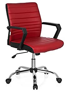 hjh OFFICE Ergosmooth 723050Office Chair Imitation Leather Black/Red