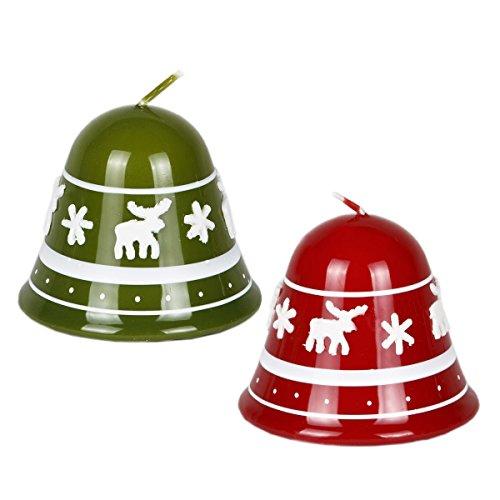 Juego de 2Verde Rojo de campanas de Navidad velas Navidad velas diseño de reno de Navidad