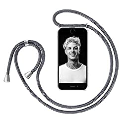 """ZhinkArts Handykette kompatibel mit Apple iPhone 7 Plus / 8 Plus - 5,5"""" Display - Smartphone Necklace Hülle mit Band - Schnur mit Case zum umhängen in Dunkelgrau"""