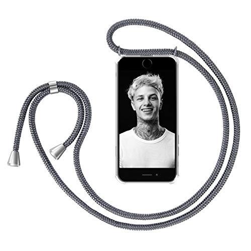ZhinkArts Handykette kompatibel mit Apple iPhone 6 / 6S - Smartphone Necklace Hülle mit Band - Schnur mit Case zum umhängen in Dunkelgrau