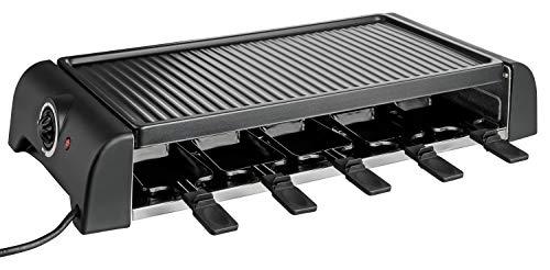 Cuisinier Deluxe Premium Raclette Grill   inkl. Raclette Pfännchen und Holzspatel  gerippte Alu Druckgussplatte   Antihaftbeschichtung   stufenlose Temperaturreglung (1500W)