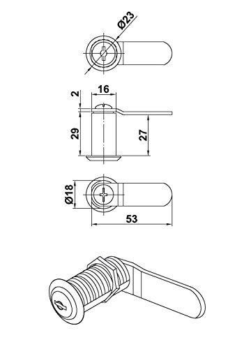 MS Beschläge® Schrankschloß Möbelschloß Briefkastenschloß Hebelschloß mit 2 Schlüssel Mod. 5a