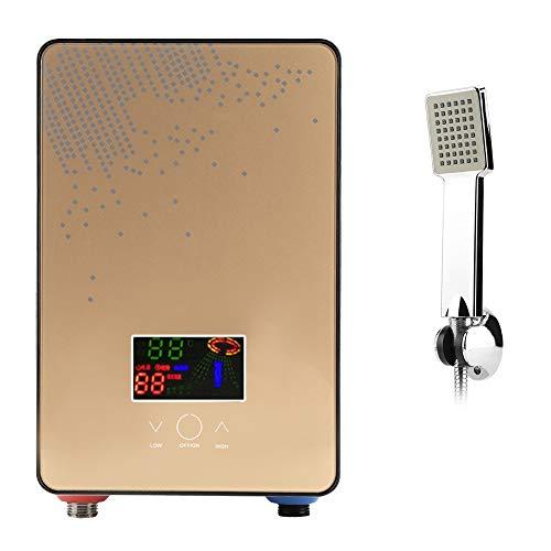 6500W Calentadores de agua instantáneos eléctricos, calentador de agua sin tanque termostático, Pantalla LCD con Control táctil para Baño + Juego de Alcachofa de ducha con manguera