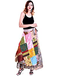 Silk Printed Patchwork Long Wrap Around Skirt Western Wear Women's Wrap Around Skirt - Free Size For Woman And...