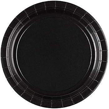 Gabeln Servietten L/öffeln Einweggeschirrset Bechern Mit Kunststoffmessern Party-Set mit schwarzen und wei/ßen Streifen Papptellern F/ür 24 Personen