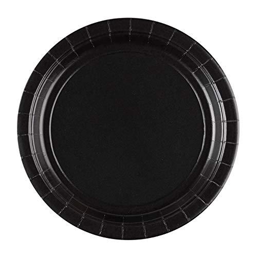 Pappteller 22,8 cm Teller schwarz ()