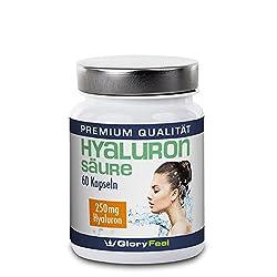 Hyaluronsäure Kapseln Hochdosiert - 250mg Reine Hyaluronsaeure pro Tagesdosis - 60 Vegane Kapseln - Deutsche Nahrungsergänzung von GloryFeel