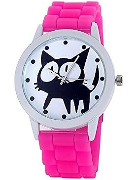 Loveso-Armbanduhr elegant Frauen-nette Karikatur Katze Kitty Silikon-Quarz-Uhr-Armbanduhr_Hot Pink