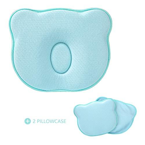 Homealexa Babykissen Orthopädisches Babykissen gegen Plattkopf Baby Kissen Baby Pillow zur Vorsorge der Plagiozephalie Babykopfkissen, Kinderkissen inkl. 2 Wechselbare Kopfkissenbezüge (Blau)