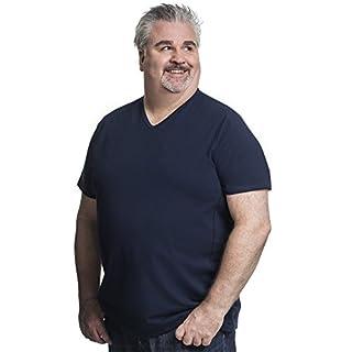 Alca Fashion 8XL T-Shirt für Männer mit Übergröße Bauchumfang Herren V-Hals Basic Tshirt Übergrößen 8XL-B (für Bauchumfang 170-178 cm) Blau